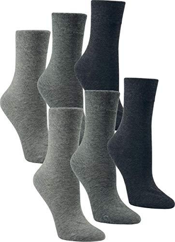 Vitasox 13314 Damen Socken Damensocken Gesundheitssocken Baumwolle ohne Gummi ohne Naht Silber-Töne 6er Pack 39/42