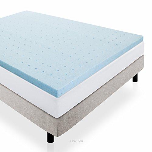 LUCID 2' Gel Infused Ventilated Memory Foam Mattress Topper, Twin