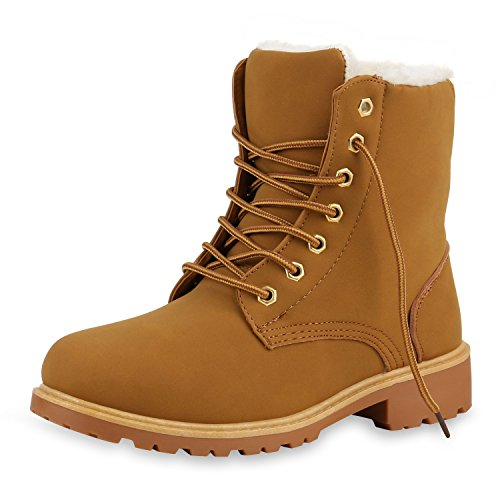 SCARPE VITA Worker Boots Damen Outdoor Stiefeletten Zipper Warm Gefüttert 130468 Hellbraun Gold...