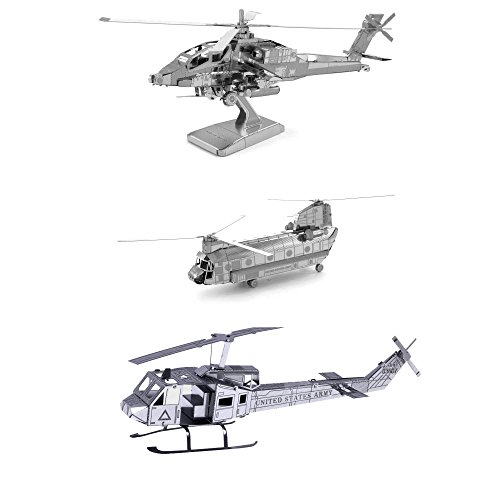 Set of 3 Metal Earth 3D Laser Cut Helicopter Models: AH-64 Apache - CH-47 Chinook - UH-1 Huey