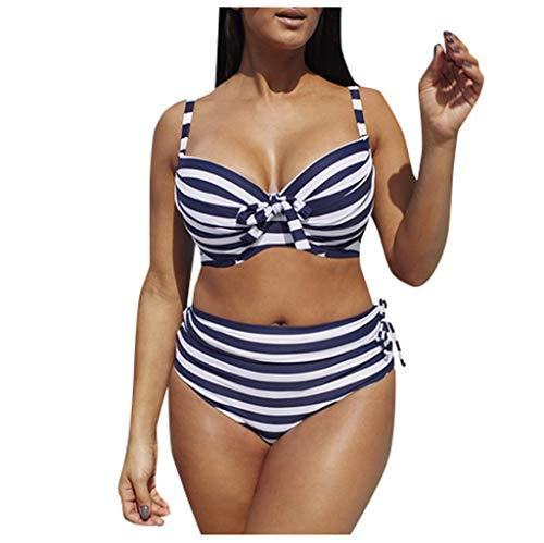 Fenverk Bikini Tankini Bademode Badeanzug Monokini Retro Groß Größe Sets Plus Size Bandeau High Waist Bikini Damen Bauchweg,Halter Rüschen Hoher Taille Zweiteilige Strandkleidung(B Blau,L)