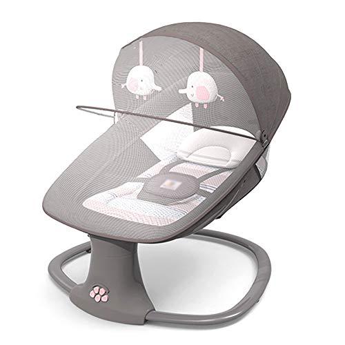 3-in-1-Multifunktions-Babywippe, weicher bequemer atmungsaktiver elektrischer Baby-Schaukelstuhl mit Bluetooth, Batterie- oder USB-Stromversorgung,Pink-DeluxeEdition