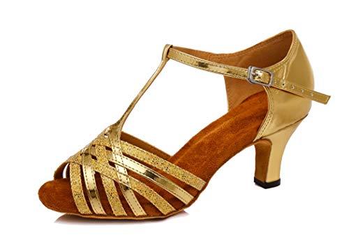 MGM-Joymod Damen Komfort T-Strap Mid Heel Glitzer Synthetik Salsa Tango Lateinamerikanische Charakter Tanzschuhe, Gold - Gold 6 cm Absatz - Größe: 38.5 EU