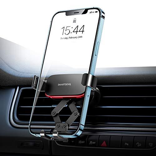 SmartDevil Soporte Móvil para Coche Rejillas del Aire Actualizado, Universal Soporte Coche Teléfono por Gravedad 360° Rotación, Porta Movil Coche para Teléfonos de Menos de 7 Pulgadas, Negro