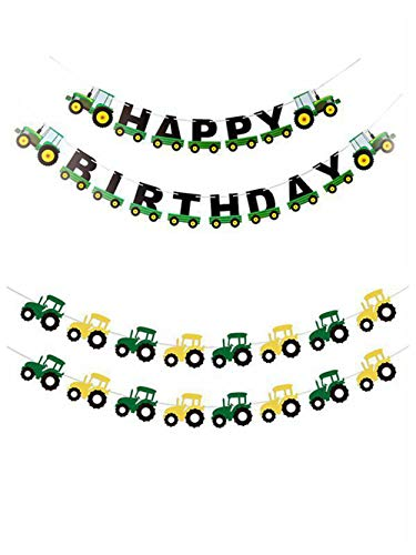 Cieovo Party Green Construction Vehicle Party Garland Banner Set, Tractor Happy Birthday Banner with Farm Tractor Themed Decor for Construction Car Birthday Shower Party Supplies