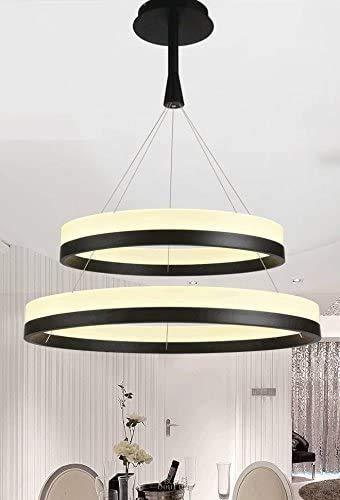 Woodtree Dos Anillos Modernos (40-60 cm) Luces Pendientes LED de iluminación de la lámpara (Color : Warm Light)