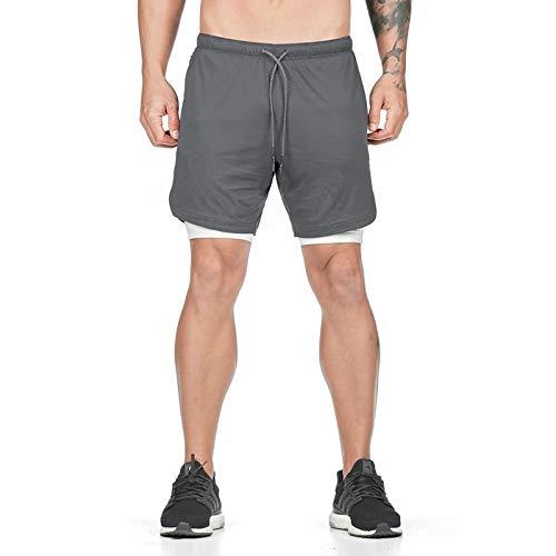 Pantalones cortos deportivos 2 en 1 para hombre, ropa deportiva para entrenamiento de gimnasio, entrenamiento para correr, pantalones cortos de baloncesto con bolsillos para teléfono, con cordón XL