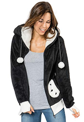 Sublevel Damen Panda Fleece-Jacke mit Öhrchen und Kapuze