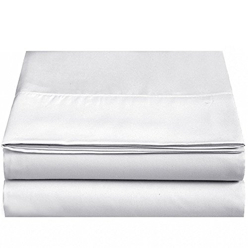 4U LIFE 2 Piece Flat Sheet, Ultra Soft and Comfortable Microfiber, Twin, White