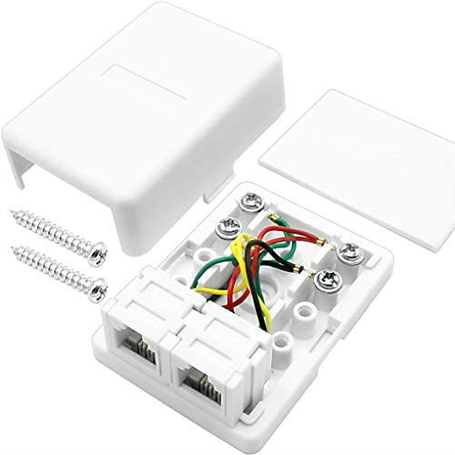 NECABLES Telephone Surface Mount Jack Dual Port Phone Junction Box with 2 RJ11 6P4C Female Outlets product image