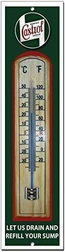 Vintage Sign Designs Castrol Hochwertiges Metall und Holz Garage Thermometer
