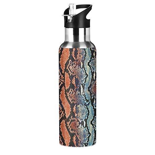 xigua Botella de agua deportiva aislada con tapa de pajita, de acero inoxidable, antifugas, estilo vintage