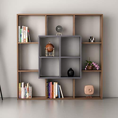 Homemania Bücherregal Leef Scaffale, Sideboard mit Regalböden, Büro, Studio - Noce, Anthrazit, 136 x 22 x 136 cm