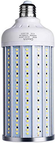 foco LED de 60 W (equivalente a 450 W), luz de cochera LED 5500 lúmenes 6000 K, luz de día blanca calle y área, base mediana E26, para cochera al aire última intervensión, almacén de patio y más