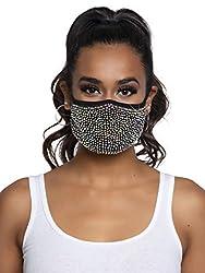 Zuri Black Rhinestone Fashionable Face Mask