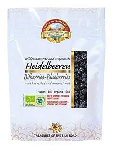 Arándanos azules silvestres deshidratados sin azucar añadido ecológicos 100 gr orgánicos 100% naturales crudos Bio 100g organic dried bilberries unsweetened