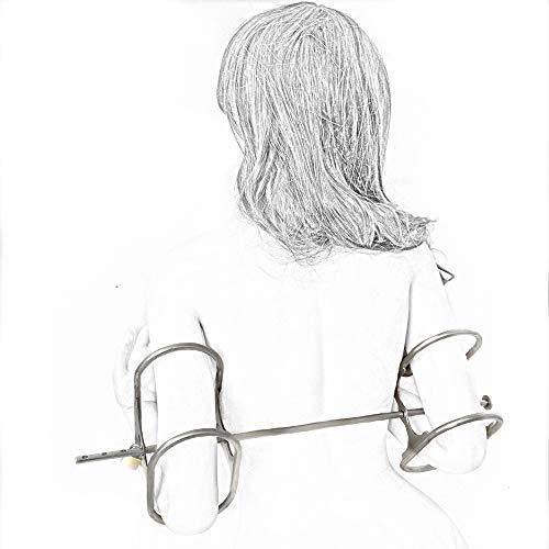 SM Arm Bondage Und Schulterriemen Mit Schloss Rostfreier Stahl Handschellen Armlehnen Spielzeug - BDSM Sex Produkte Fetisch Spiele Für Erwachsene Für Frauen Mann,Metallisch