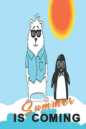 Summer is coming: Summer notebook with penguin and polar bear