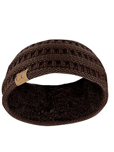 C.C Stirnband, weich, dehnbar, warm, Zopfmuster, gefüttert -  Braun -  Einheitsgröße
