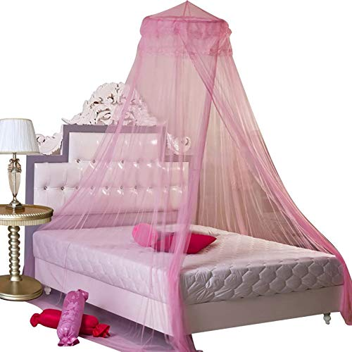 HOUSWEETY Pink New Round Lace Curtain Dome Bed Canopy Netting Princess Mosquito Net