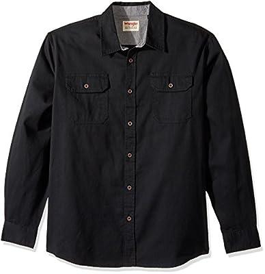 Wrangler Authentics Men's Long Sleeve Classic Woven Shirt, black denim, S