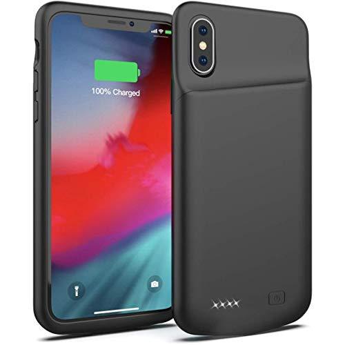 Akku Hülle für iPhone X/Xs, FLYLINKTECH Ultra Dünn Battery Case für iPhone X/Xs/10 Wiederaufladbare [4000mAh] Ladehülle Slim Powerbank Hülle Akku Case, Schwarz (2020Verbesserte Version)