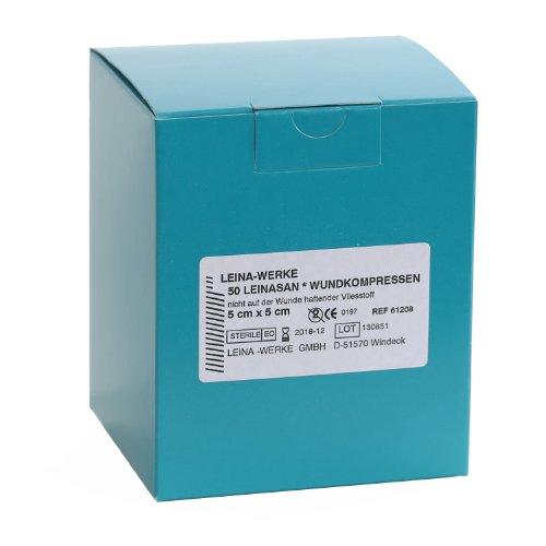 LeinaSan Sterile Wundkompressen / Vlieskompressen, nicht wundverklebend, sehr weich, Größe:5cm x 5cm - 50Stck.
