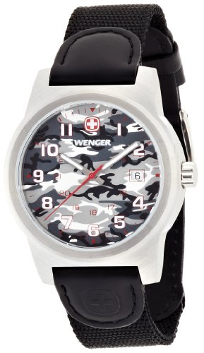 Wenger Camo Men's Quartz Watch with Grey Dial Analogue Display and Black Nylon Strap 010441108