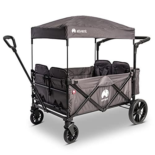 elvent® WagonPro City Bollerwagen/Handwagen faltbar mit Dach I 4 Sitzplätze | groß I Sitzpolster, Hecktasche, Feststellbremse, 5-Punkt-Gurt I für 4 Kinder (Grau)