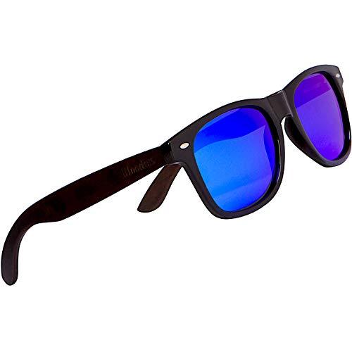 Woodies Gafas de sol madera de ébano con lentes polarizadas de espejo azul