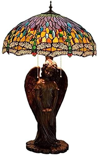 TOPNIU Lámparas de Mesa de vidrieras Pastoral Dragonfly Tiffany Style Lámpara de Escritorio Ángel-Base de Cristal Lámpara de Vidrio Mesa para Sala de Estar Oficina de Dormitorio