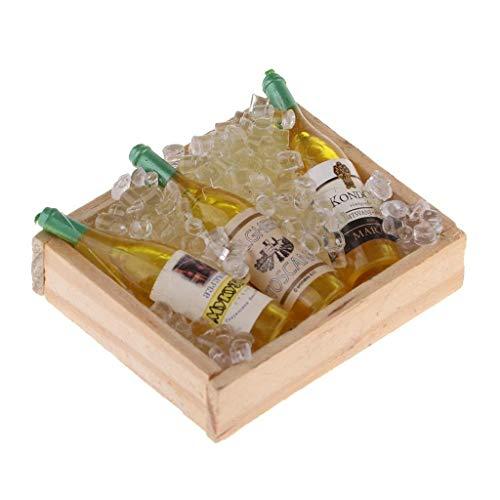 Jjek Mini Poppenhuis Accessoires DollhouseDIY Simulatie Micro-koud Bier Fles Doos Houten Koelkast Wijn Rek Decoratie Model