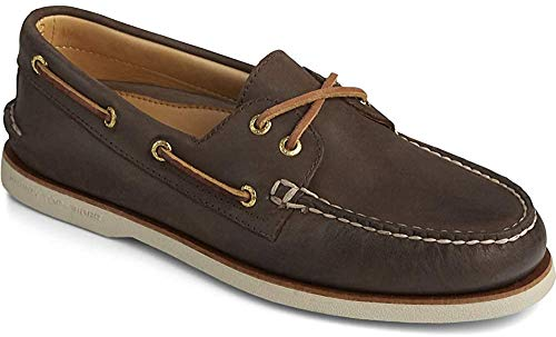 Sperry Mens Gold A/O 2-Eye Boat Shoe, Brown, 9