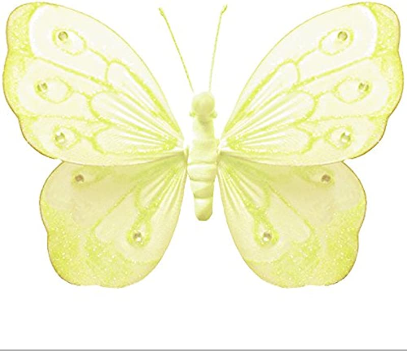 Hanging Butterfly X Large 18 Yellow Shimmer Nylon Mesh Butterflies Decorations Decorate Baby Nursery Bedroom Girls Room Ceiling Wall Decor Wedding Birthday Party Baby Shower Bathroom Kid Child 3D Art