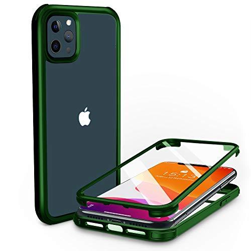 PHONEAURA Funda para iPhone delantera y trasera de 360 grados, doble cristal, con dos protectores de pantalla integrados, para iPhone 12 Pro Max, color verde