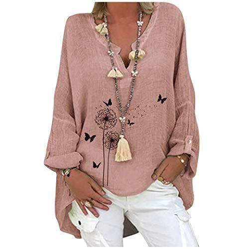 SKWYPOJU Damska bluzka lniana oversize elegancka bluzka z nadrukiem w motyle lniana bluzka z dekoltem w serek z długim rękawem bluzki tunika luźne długie bluzki (Color : Pink, Size : Medium)