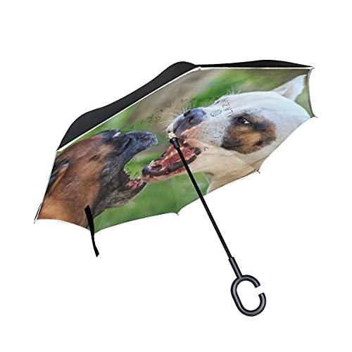 N\C Doppelschichtiger umgekehrter Hundeschirm Autos Reverse Winddichter Regenschirm für Auto im Freien mit C-förmigem Griff chen