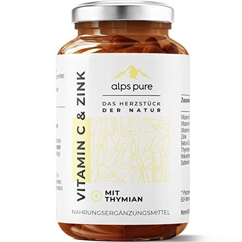 Vitamin C und Zink Plus + Thymian-Extrakt, Vitamin C, D und Zink Kapseln alps pure   innovativer Alpenkräuter-Mikronährstoff-Mix   100{690675c74e680ad0fbe16a12d8e6feaaffe6978a0134ae8b4d88e532155367a8} vegan, sojafrei und glutenfrei   60 Stück HPMC-Kapseln