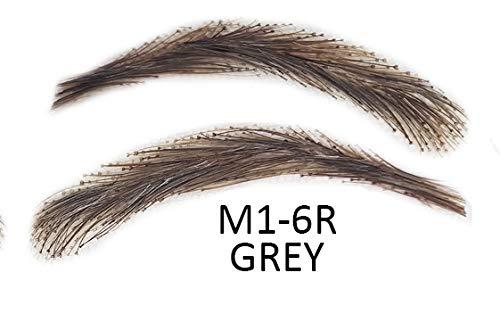 Künstliche, semi-permanente Augenbrauen aus 100% Echthaar zum Aufkleben - handgemacht, M1-6R grey