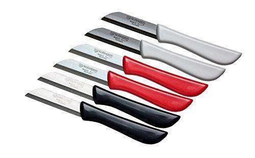 6er Set Gemüsemesser scharf/Küchenmesser/Schälmesser/Obstmesser klein/Fischmesser Elegance Serie rot/grau/weiß Solingen Germany (bunt-grau-weiß-rot)
