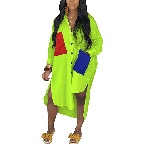 Women's Sexy T-Shirt Dress V Neck Button Down Loose Blouse Tops Casual Dresses with Pocket Green M