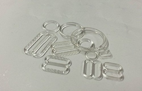 Lyracces Wholesale Lots 1000set Rectangular Figure 8 & 0 Lingerie Adjustment Slider and Rings for Bra Strap Apparel Holder Findings 6-15mm Clear Black White 3color Pick (10mm 0.39in, Clear)
