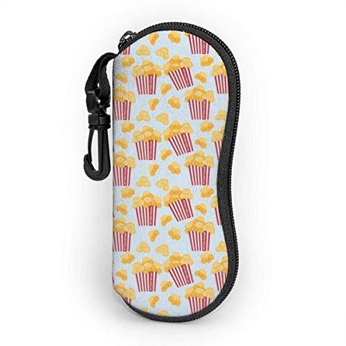 Sonnenbrille Brillenetui Popcorn Tasche Kratzfest staubsichere Brillenbox mit Gürtelclip für Schlüssel, Bleistifte, Karten