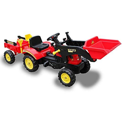Tractor A Pedales con Remolque Y Pala Color Rojo