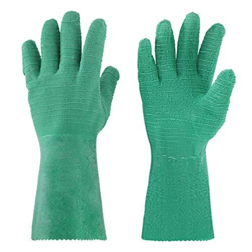 BESPORTBLE Schnittfeste Handschuhe wasserdichte Gummihandschuhe Fangen Fischhandschuhe Anti-Fischgräten-Schutzhülle Küchenhandschuhe für Die Indoor-Outdoor-Angeljagd (Grün)