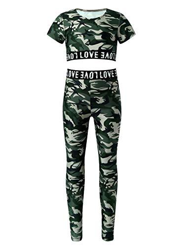 Oyolan Kinder Mädchen Trainingsanzug SPRT BH Top und Leggings Set Camouflage Jogginganzug Sportanzug für Yoga Fitness Tanz Army_Grün B 158-164