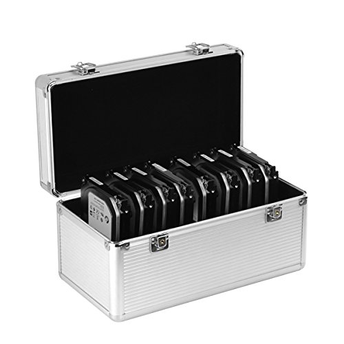 GLOTRENDS Aluminum & EVA Protection Suitcase for 8 x 3.5 & 6 x 2.5 inch Hard Drive, Moisture Proof, Water Resistant, Static Proof, Perfect for Media Offices, Photography, Graphic Design (B86)