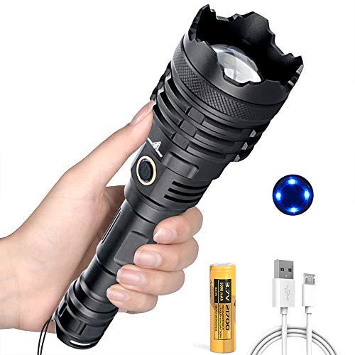 LinternasLEDAltaPotencia, Linterna LED Recargable de 12000 Lúmenes con Batería de 5000mAh, 5 Modos, Zoom Telescópico, Linterna Táctica para Camping, Senderismo, Emergencia