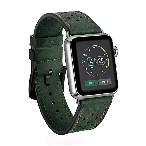 Dee Plus Correa Compatible para Apple Watch 38mm/42mm Correa Cuero, Reemplazo Clásico para Apple Watch Series 4/3/2/1 Hombres y Mujeres Pulsera Correa Banda de Reloj para,Regalo Protector de Pantalla
