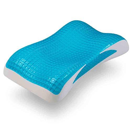 Neblus Almohada Ortopédica,, Cooling Gel, Evita Dolor de Cuello-Espalda-Hombros Gracias a su Perfección de Amoldarse a tu Cuerpo y Regula tu Temperatura Gracias al Cooling Gel, Azul